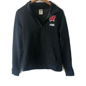 VS PINK Wisconsin Badgers Gray Quarter Zip Sweater